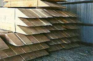 Beveled cut Mining timbers