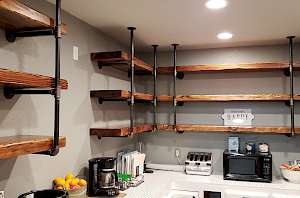 Custom shelving, open shelf, pipe mounted shelves,